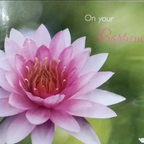 Pink flower, On your Baptism card